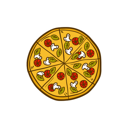 Vector illustration with cartoon hand drawn pizza. Vector background with italian cuisine object. Great for cartoon cafe, restaurant or pizzeria design. Hand drawn isolated pizza, emblem, sign Vettoriali