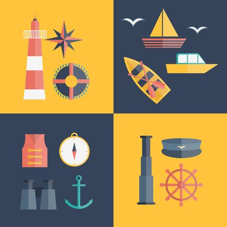 cruise ships: Vector cartoon flat nautical icons. Illustration cruise concept. Vector nautical sea ocean objects: lighthouse, compass, life vest, anchor, sailboat, captain sailor hat, lifebuoy, wheel, binoculars