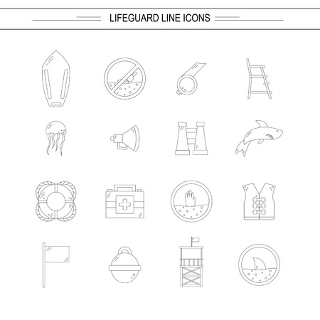 emergence: Vector flat line beach lifeguard beach objects: buoy, shark, medusa, lifebuoy, life vest, whistle. Line vector lifeguard icons. Emergence, survival, security beach nautical objects. Summer line icons