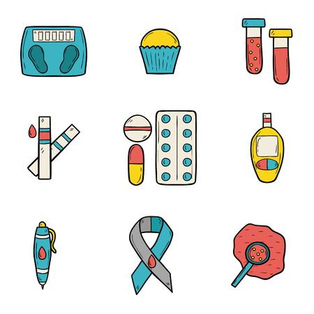 selfcontrol: Set of cartoon icons on diabetes theme in hand drawn style
