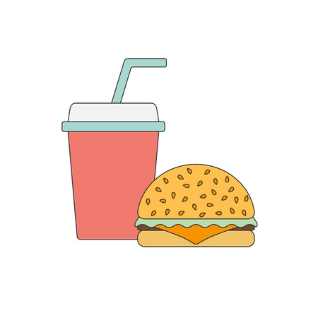 american cuisine: American food or meals concept. Fast food cafe or restaurant. Flat line objects: burger soda. Junk unhealthy food. Obesity concept for flat infographics. American cuisine background