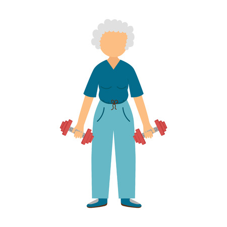 old people: Vector illustration with cartoon old woman with dumbbells. Cartoon character. Old people activity. Vector gym healthy lifestyle. Sport for adult old people. Cartoon active woman background
