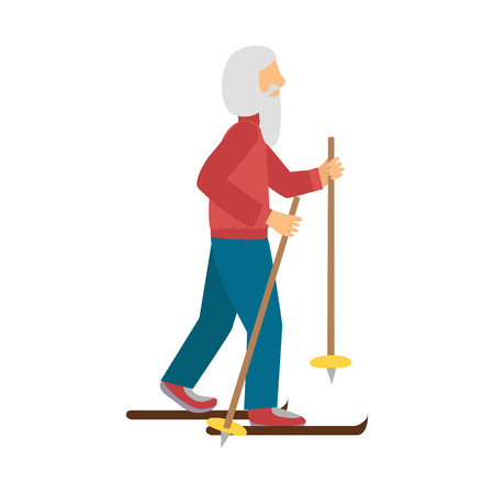 old people: Vector illustration with cartoon old man with ski. Cartoon character. Old people activity. Vector gym healthy lifestyle. Sport for adult old people. Cartoon active man background
