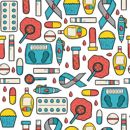 selfcontrol: Seamless hand drawn cartoon background on diabetes theme