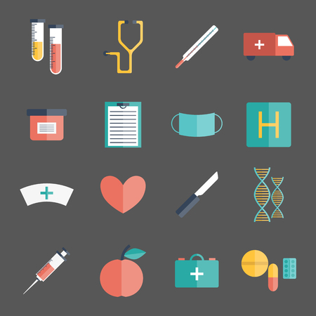 nurse syringe: Vector illustration with cartoon flat medical objects: pills, thermometer, ambulance, stethoscope, medicine chest, dna, heart, scalpel knife. Vector first aid concept. Medical doctor icons flat design