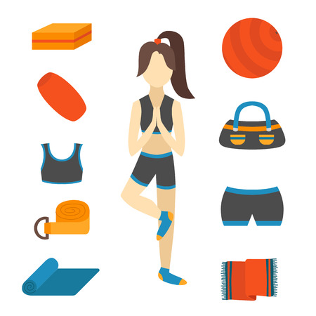 fitness ball: Vector illustration with cartoon woman character in yoga tree pose and flat yoga equipment: fitness ball, yoga mat, block, rubber, towel. Healthy active lifestyle concept. Fitness pilates equipment Illustration