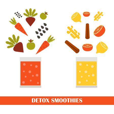 detox: Vector illustration with ingredients for making detox smoothies. Cartoon vector flat vegetables, fruits, chia seeds, ginger. Organic vitamin diet detox smoothies. Make your own healthy vegan smoothie.