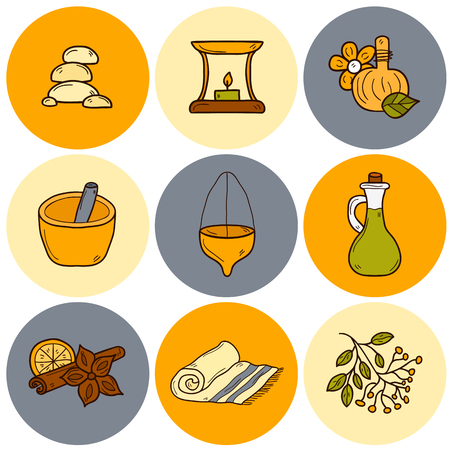 aromatherapy oil: Set of cartoon ayurvedic icons in hand drawn style: herbs, stones, oil, spices, aromatherapy, towel. Auyrveda healthcare and treatment concept for your design