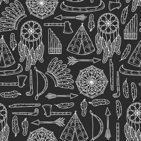 fife: Seamless background with hand drawn objects on tribal theme: tomahawk, feather, canoe, bow, arrow, hat, mandala, flute, pipe, dreamcatcher. Native american concept for your design Stock Photo