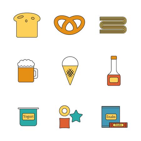 intolerancia: ilustraci�n con objetos planos l�nea con los alimentos que contienen gluten. La comida sana dieta sin gluten concepto libre o intolerancia.