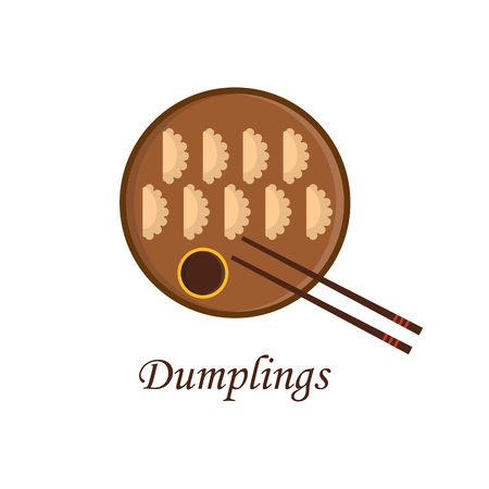 soy sauce: illustration with cartoon chinese dumplings on plate with soy sauce