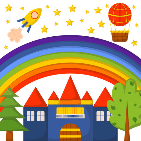 fantasy world: illustration with cute colorful cartoon fantasy world pattern