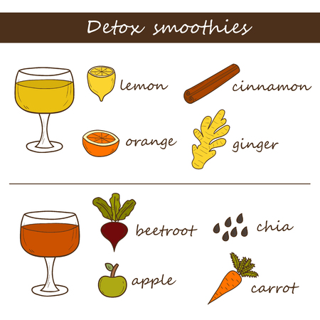 detoxing: Set of hand drawn objects on detox smoothies recipes theme. Raw vegan concept Stock Photo