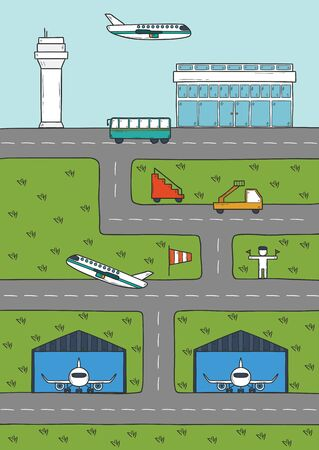 wingspan: Cartoon concept on airport theme with hand drawn cartoon objects