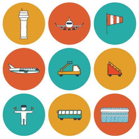 wingspan: Set of cartoon hand drawn airport icons for your design