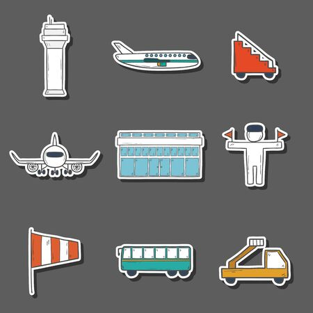 wingspan: Set of hand drawn airport icons for your design Stock Photo