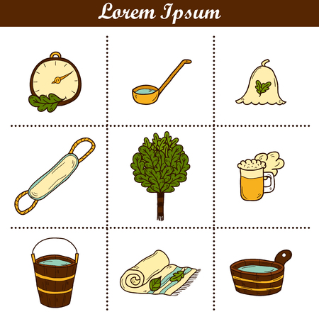 wisp: Set of hand drawn sauna icons: broom, towel, hat, wisp, beer, steam. Relaxation, health care or treatment concept for your design