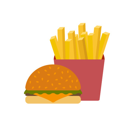 american cuisine: American food or meals concept. Fast food cafe or restaurant. Flat objects: burger, french fries. Junk unhealthy food. Obesity concept for flat infographics. American cuisine background