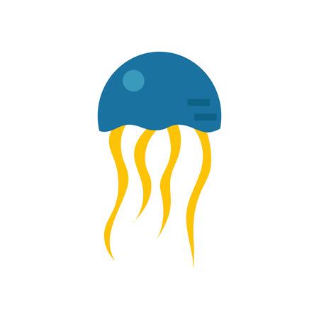 oceanography: illustration with cartoon flat medusa. Sea underwater wildlife. Illustration