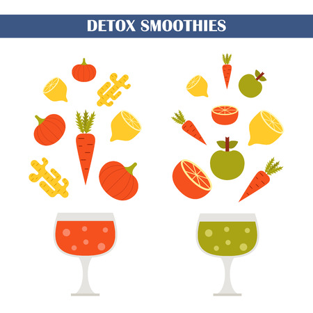 detox: illustration with ingredients for making detox smoothies