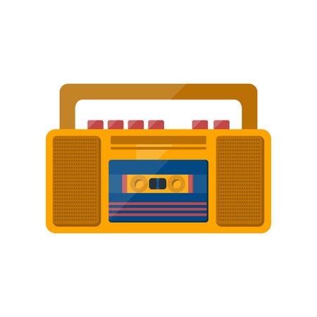 recorder: illustration with cartoon vintage tape recorder