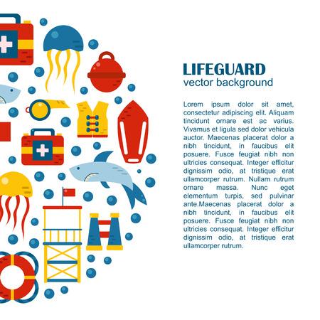 lifeguard: flat cartoon lifeguard beach objects