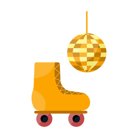 roller skate: illustration with cartoon flat disco roller skate and ball Illustration