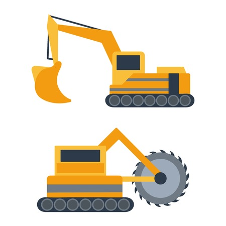 Vector illustration with cartoon flat mining drill machine and excavator. Mining equipment. Isolated flat industrial technology. Vector background for industrial mining technology. Heavy equipment  イラスト・ベクター素材