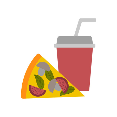Vector illustratie met platte Amerikaanse pizza en frisdrank. Fast food vector. Restaurant, koffie, lunch, ontbijt plat design. Afhaalmaaltijden. Ongezonde junk keuken. Vector achtergrond voor voedsel ontwerp
