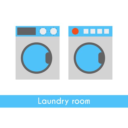 laundry room: Vector illustration with flat cartoon washing machine and dryer. Vector laundry room icons. Home appliances for clothes cleaning. Laundry room appliances background: washer and dryer. Flat icon