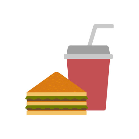 american cuisine: Vector american food or meals concept. Fast food cafe or restaurant. Flat objects: sandwich and soda. Junk unhealthy food. Obesity concept for flat infographics. American cuisine vector background