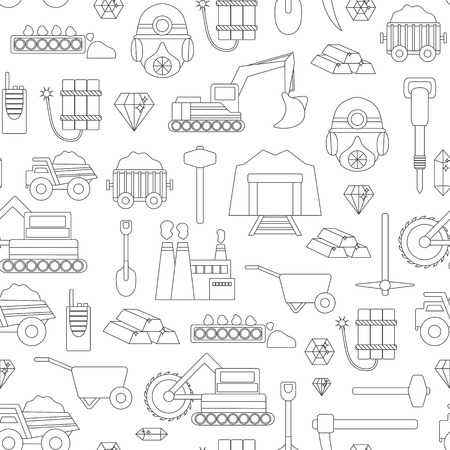 Vector background with mining objects. Cute flat mining seamless background. Industrial equipment, metallurgy factory. Coal mining icon. Mineral, diamond, gold factory. Mining tools illustration