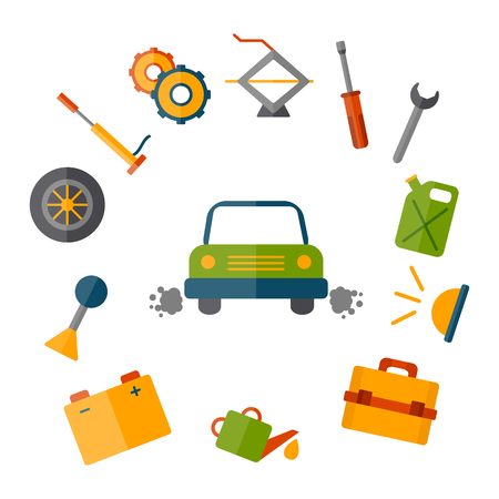 Vector car repair icon. Cartoon cute objects for car design. Car service or garage concept. Equipment, tools, objects for break car work. Vector cartoon car repair illustration