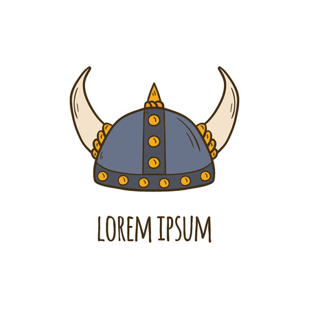 Vector illustration with cartoon hand drawn horned viking helmet. Vector nordic scandinavian culture object. Medieval viking helmet with horns. Vector viking icon for cartoon design. Warrior equipment