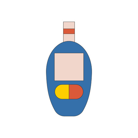 glucose: Vector illustration with cartoon flat glucometer. Diabetes medical test. Glucose level in blood. Vector diabetes icon. Measurement, control, surveillance for sugar in blood. Diabetic glucometer