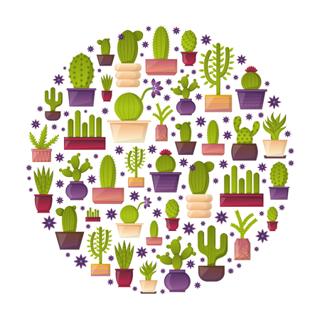 house plant: Vector illustration with cartoon isolated cactus icon. Vector house plant in flowerpot, home interior background. Desert mexican succulent. Home flowers cartoon indoor objects. Travel to Mexico icon