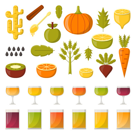 cleansing: Vector illustration with cartoon summer ingredients for detox smoothie. Vegetables, fruits, chia seeds, colorful glasses. Fresh detox smoothie vitamin healthy living. Vegan, diet, vegetarian lifestyle Illustration