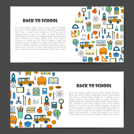 catroon: Vector illustration with cartoon hand drawn template for Back to School card, poster, background, banner or flyer. Cute catroon school things design. Yellow school bus, backpack, supplies