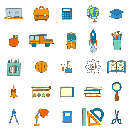catroon: Vector illustration with cartoon hand drawn template for Back to School icons, card, poster, background, banner or flyer. Cute catroon school things design. Yellow school bus, backpack, supplies
