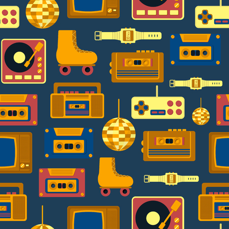 60s: Vector illustration with cartoon retro 1980, 60s, 70s, 80s, 90s background. Old retro entertainment objects: rollers, tv, recorder, cassette. Vector icons for retro 1980, 60s design. Cartoon objects Illustration