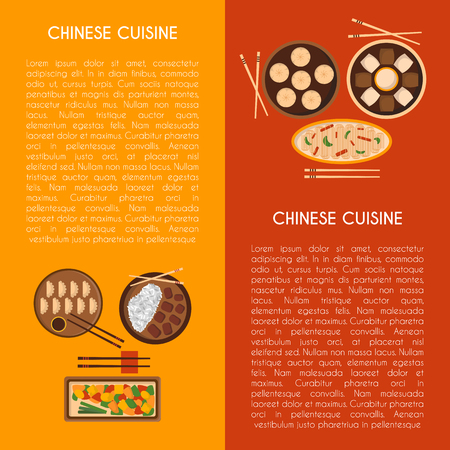 Vector illustration with cartoon cute chinese cuisine food: chicken kung pao, wonton soup, chow mein, mantons. Traditional chinese food. Great for restaurant, cafe menu. Cartoon food plate, top view
