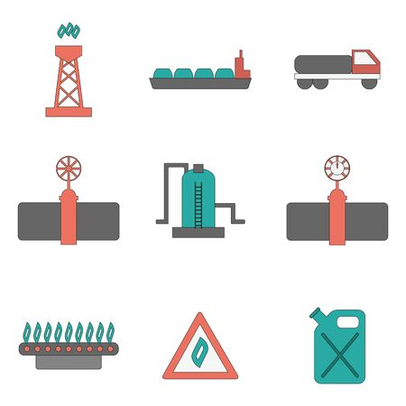 natural gas production: Vector illustration with flat gas production icons. Gas supply industry. Natural resource energy objects. Vector gas flame and pipeline concept. Industry design. Gas supply and transportation icons