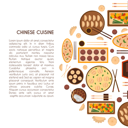 Vector illustration with cartoon cute chinese cuisine food: chicken kung pao, wonton soup, chow mein, mantons. Traditional chinese food. Restaurant, cafe menu background. Cartoon food plate, top view