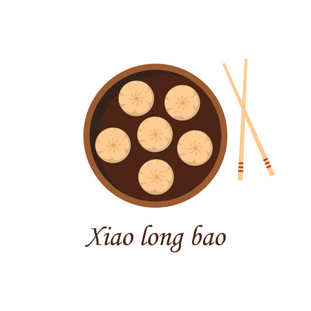 Vector illustration with cartoon traditional chinese meal xiao long bao. Dumplings, plate, chopsticks. Chinese cuisine concept. Great for restaurant, cafe asia cuisine menu design. Popular food