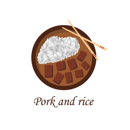 Vector illustration with cartoon traditional chinese meal pork and rice. Plate, chopsticks, flat rice. Chinese cuisine concept. Great for restaurant, cafe asia cuisine menu design. Popular food Illustration