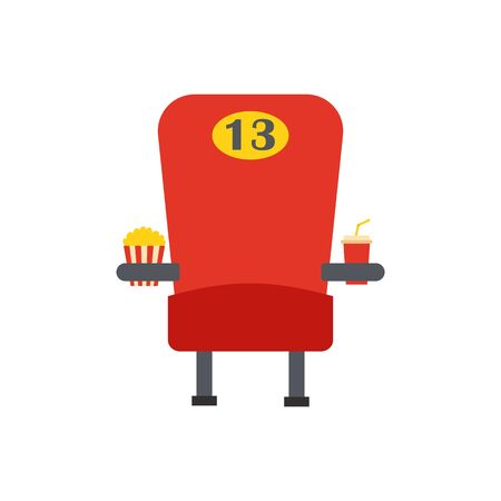 snack time: Vector illustration with cartoon flat red movie armchair with popcorn and soda. Cinema time vector icon. Movie snack with chair. Isolated objects on cinema time theme. Vector leisure background