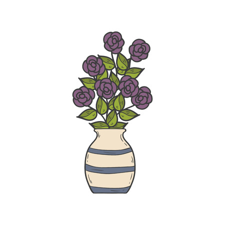 house plant: illustration with cartoon hand drawn houseplant. Cartoon house plant interior design.
