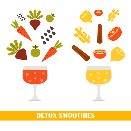 detox: illustration with ingredients for making detox smoothies.