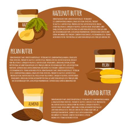 pecan: illustration card with cartoon nut butter: almond, hazelnut, pecan. Fresh healthy snack, breakfast, lunch. Illustration