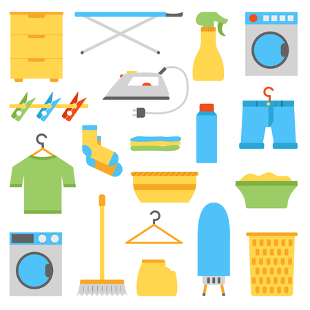 laundry hanger: illustration with flat laundry room objects. Washing machine, dryer, iron, clothes hanger, ironing board, laundry basket.